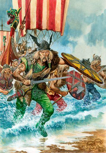 Viking raiders coming ashore from a longship.