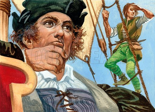 Cristopher Columbus seeing the New World.