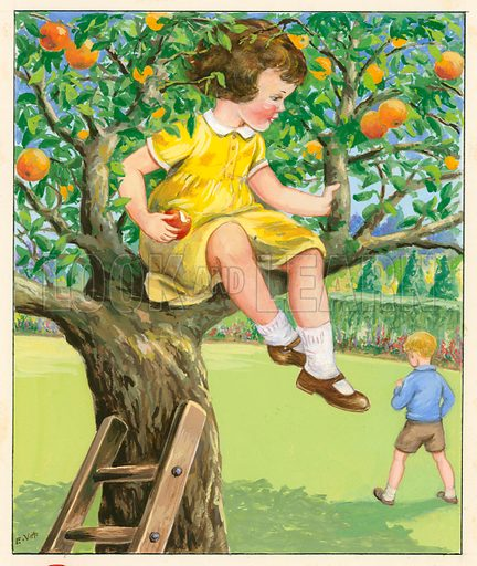 Girl in apple tree.