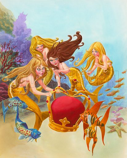 Mermaids and crown. Original artwork for Once Upon a Time.