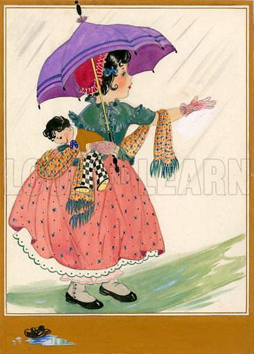 Girl with umbrella and doll.
