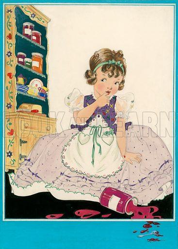 Little girl with spilled jam.