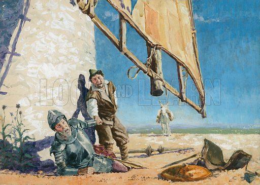 Don Quixote fighting a windmill, scene from Don Quixote, by Spanish novelist Miguel de Cervantes.