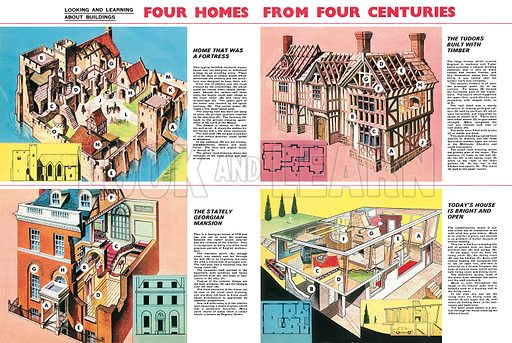 Four Homes from Four Centuries. Professionally re-touched illustration.