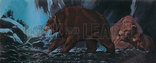 Bears and primitive man. Professionally re-touched illustration.