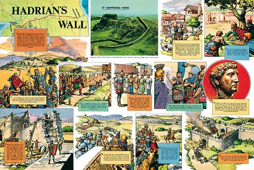 Hadrian's Wall. Professionally re-touched illustration.
