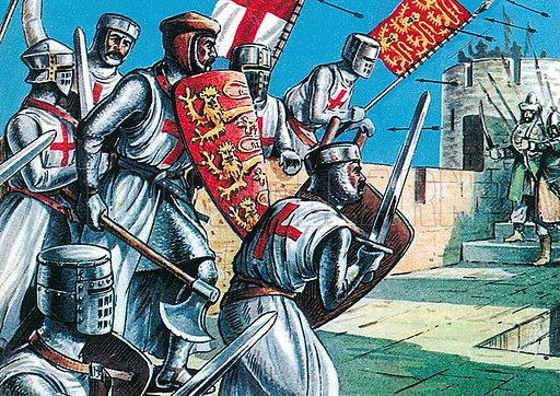 King Richard I storming the walls of Acre during the Crusades. Professionally re-touched illustration.
