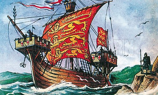 English sailing vessel of the 13th century, showing the lions of England. Professionally re-touched illustration.