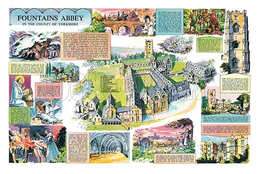 Fountains Abbey. Professionally re-touched illustration.