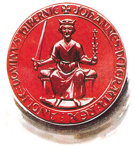 King John's seal, as affixed to the Great Charter (Magna Carta). Professionally re-touched illustration.