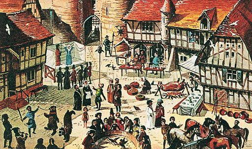 Medieval fair.  Professionally re-touched illustration.