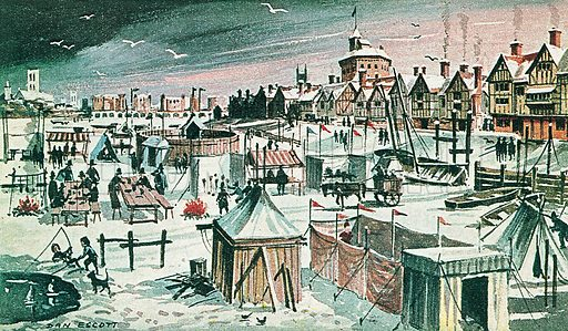 Frost-fair on the River Thames in the 17th century. Professionally re-touched illustration.