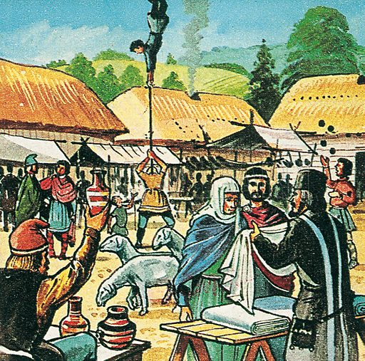 Anglo Saxon fair. Professionally re-touched illustration.