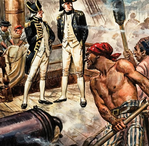Nelson on the deck of HMS Victory. Professionally re-touched illustration.