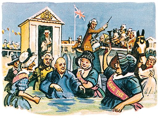 George III bathing at Weymouth. Professionally re-touched illustration.