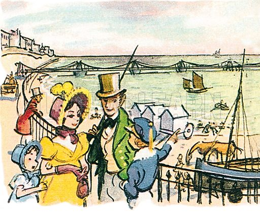 The first Brighton pier.  Professionally re-touched illustration.