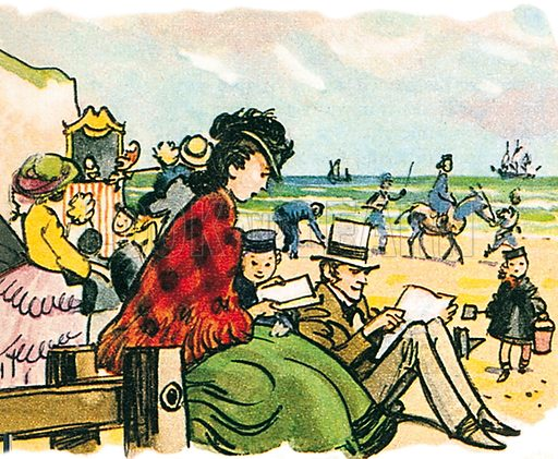Victorian beach scene. Professionally re-touched illustration.