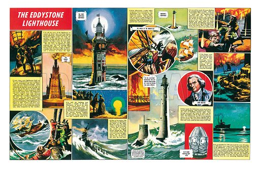 The Eddystone Lighthouse. The history of the famous lighthouse, showing the earliest lighthouse (the Pharos Light) inventred by Ptolomy and the four lighthouses that have protected ships from the Eddystone Rocks. Professionally re-touched illustration.