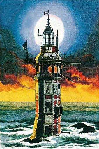 The First Eddystone Lighthouse. Professionally re-touched illustration.