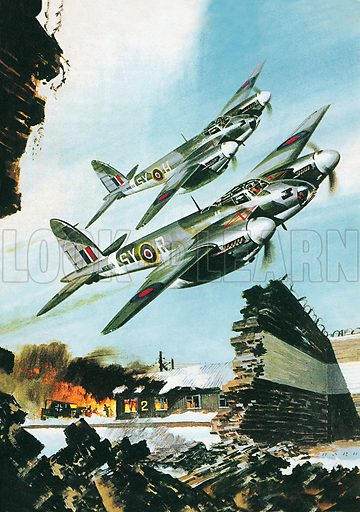 Famous Aircraft and Their Pilots: de Havilland Mosquito – Group Captain Charles Pickard. Professionally re-touched illustration.