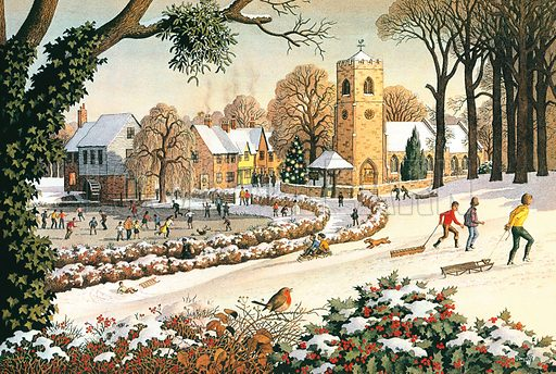 Christmas scene. Professionally re-touched illustration.