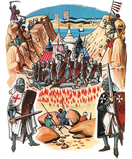 First Crusade.  Scene from the First Crusade showing the Crusaders trapped by the Saracens between the two peaks knows as the Horns of Hattin by the Sea of Galilee.  Professionally re-touched illustration.