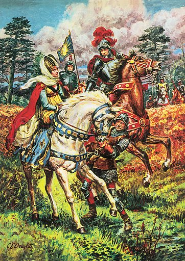 A Pageant of Kings: Edward IV – Triumph of the House of York: Edward IV gets his first glimpse of his prisoner, the Lancastrian Queen Margaret of Anjou, after her capture at the Battle of Tewksesbury. Professionally re-touched image.