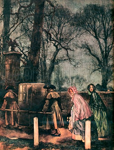 Cranford by Mrs Gaskell.  This illustration gives you a good idea of one odd aspect of life in Cranford.  These were lawless times which accounts for the anxious backwards glances of the ladies following the sedan chair. No lady would dream of going out alone in those days.
