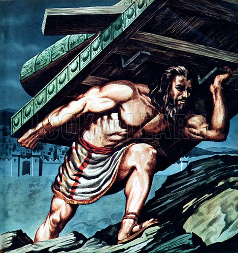 Samson carrying the gates, picture, image, illustration