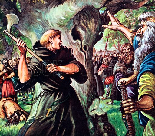 """Saint Boniface, Saxon Missionary, shown cutting down """"Thunderer's Oak"""" which was sacred to the god Woden.  He eventually became Bishop of Mainz."""