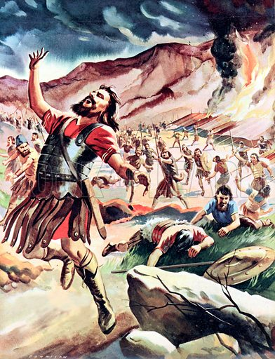 """For God and Gideon. The Midianites fled away from the victorious hosts of Israel, their shouts almost drowned by the three hundred trumpets of Gidon and his picked warriors, who chased and killed them and yelled in triumph: """"The sword of the LORD, and of Gideon"""". Judges 7."""