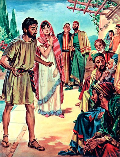 The Trial of Susanna. Daniel passionately defends Susanna against the false charges of the Elders.