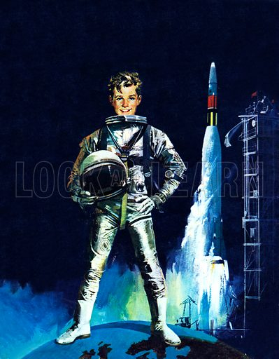 Boy in space outfit