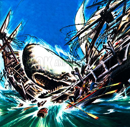 The whale's revenge, scene from Moby Dick, by American novelist Herman Melville.
