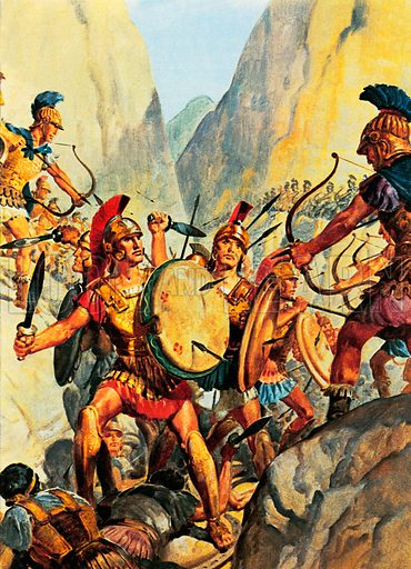 Last stand of Leonidas and the Spartans against the Persians at the Battle of Thermopylae, Greece, 480 BC.