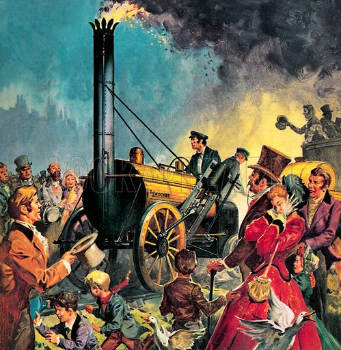 George Stephenson's Rocket, the first steam locomotive on the Liverpool and Manchester Railway, 1830.