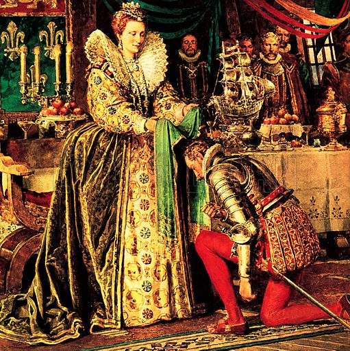 Sir Francis Drake receiving his knighthood from Queen Elizabeth I, 1581.