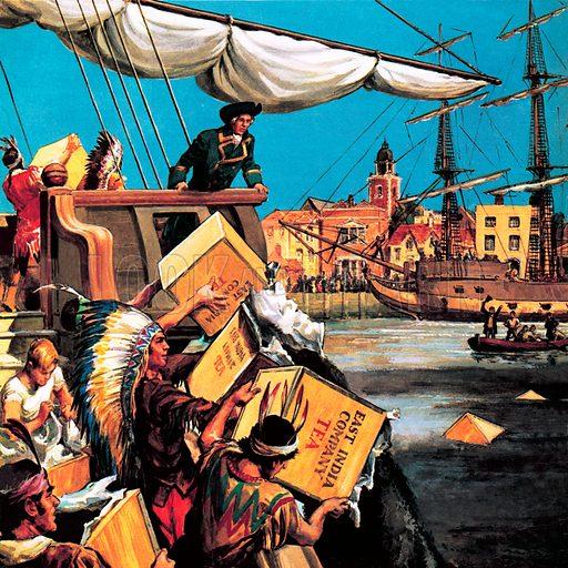 Boston Tea Party, Massachusetts, New England, 1773.