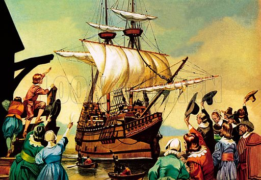 Departure of the Pilgrim Fathers for America from Plymouth on board the Mayflower, 1620.