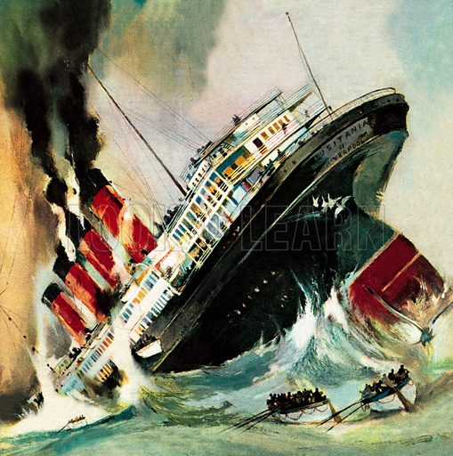 Sinking of the Lusitania by a German U-boat, World War I, 1915. On 7 May 1915, within sight of the coast of Cork, Ireland, the liner Lusitania, one of the world's biggest ships, was torpedoed by a German submarine.