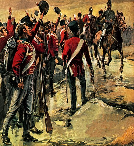 The Duke of Wellington receiving the acclaim of his troops before the Battle of Salamanca, Spain, Peninsular War, 1812.