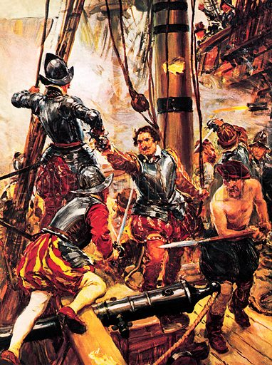 Last Fight of the Revenge. Sir Richard Grenville, a famous British sailor, tried to sail the Revenge single-handed through a fleet of 53 Spanish ships off the Azores in 1591. Fifteen of them surrounded him, and battle was joined.