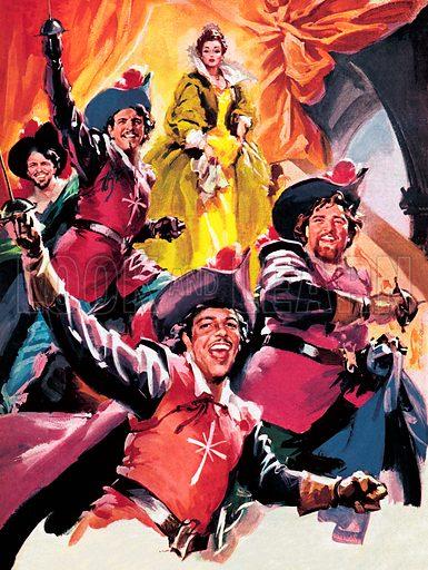 picture, Enrico De Seta, painter, cartoonist, Three Musketeers