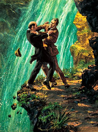 Death of Sherlock Holmes, scene from The Final Problem, by Sir Arthur Conan Doyle.