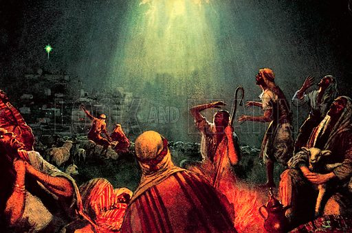 "The Angel of the Lord visits the shepherds. ""I bring to you good tidings of great joy. Unto you is born this day, in the city of David, a Saviour, which is Christ the Lord.""."
