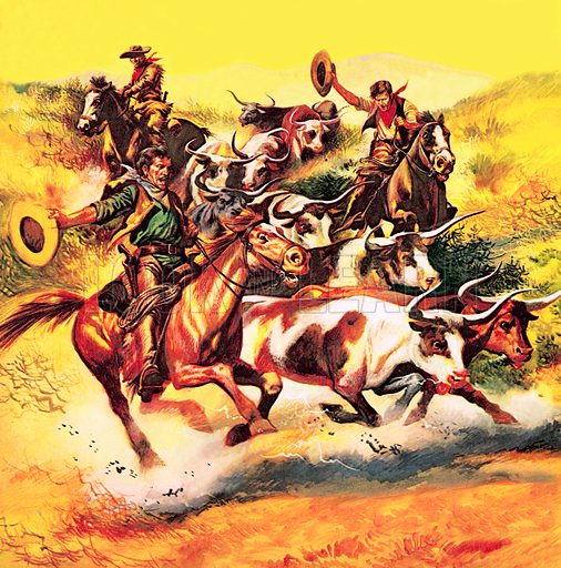 """The Fight for the Wild West: The Great Train Robbers. The cowboys – most of them honest, hard-working men – played a major role in the West's story. Cattle driving was on a great scale. In 1867, 38,000 head of cattle were driven up from Texas to Abilene in Kansas, for the train journey to America's eastern states.""""."""
