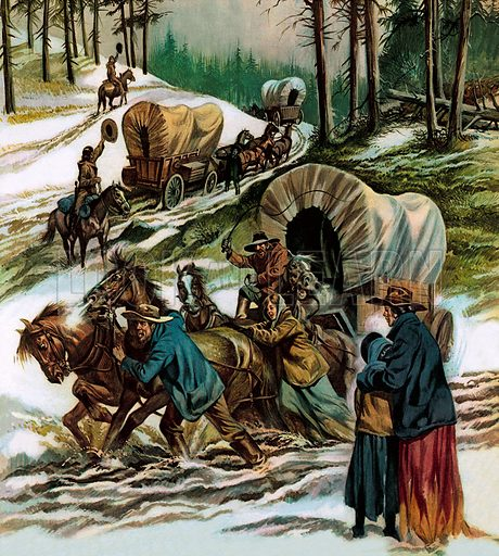 Pioneer wagon train carrying settlers to new lands in the American West, 19th Century. When Daniel Boone rode deep into the American continent in search of fresh lands he started a trail that 75,000 settlers followed for a new life – or a quick and sudden death.