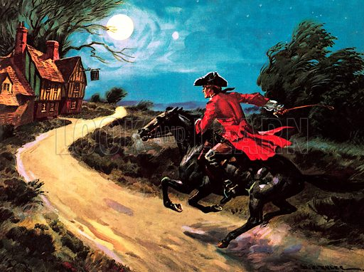 "Scene from the The Highwayman, poem by English poet Alfred Noyes. ""The road was a ribbon of moonlight of the purple moor, The highwayman came riding – riding, riding – The highwayman came riding up to the old inn-door""."