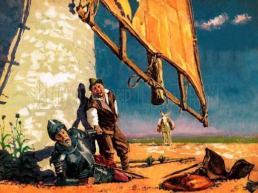 Don Quixote's Crazy World. Miguel de Cervantes' famous character battles with a windmill.
