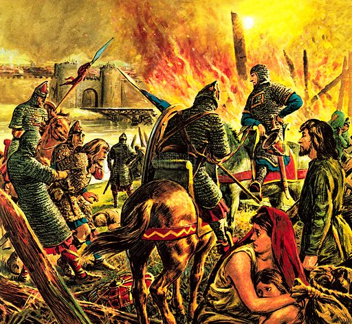 """The Story of Our Capital: The Conqueror Comes to London. """"Arriving at the Saxon city, Duke William marched his army round it, burning and destroying the countryside. Then he built a camp nearby – and settled down to wait.""""."""